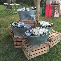Triple buckets wedding drink bar for rustic country wedding wedding food Rustic I do BBQ (Barbecue) Wedding Ideas Oktoberfest Party, Barbecue Wedding, Barbecue Bbq, Bbq Bar, Pig Roast Wedding, Backyard Barbeque Party, Pig Roast Party, Deco Champetre, I Do Bbq