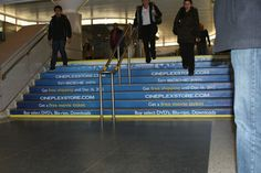 Cineplex Give & Go Campaign Stair Risers, Stairs, Calgary, Campaign, Action, Stairways, Stepping Stones, Stairway, Group Action