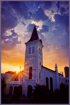 Gorgeous sunset behind a church.