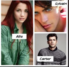 My picks for Allie, Carter ❤️, and Sylvain (easily lighten up Sylvain hair; it's those eyes that got me).   'NIGHT SCHOOL' by: C.J. Daugherty (fan casting)