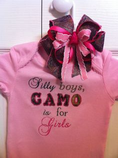 """Pink Ruffled Sleeve Embroidered Onesie with Coordinating Hairbow!  """"Silly boys, CAMO is for Girls"""""""