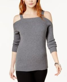 Bar Iii Ribbed Cold-Shoulder Sweater, Created for Macy's - Black XXL