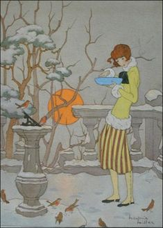'Feeding the Winter Birds' - by Marjorie Miller - (feathered friends, snow, art, vintage, illustrations) Art Deco Illustration, Watercolour Illustration, Watercolor Art, Art Nouveau, Art Vintage, Vintage Posters, York Museum, Inspiration Art, Ouvrages D'art