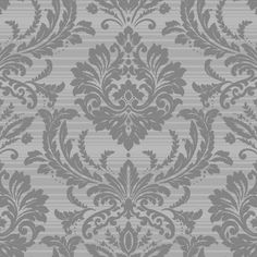 Today Interiors Trois Wallpaper - Design 2 - TR60101 ($150) ❤ liked on Polyvore featuring home, home decor, wallpaper, backgrounds, grey, grey home decor, grey damask wallpaper, gray striped wallpaper, damask wallpaper and gray stripe wallpaper