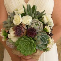 "Once you see a bouquet of succulents it's easy to say """"I do"""". Whether it's all succulents or succulents with mixed flowers it'll be a bouquet to remember. Spring Wedding Bouquets, Diy Wedding Dress, Diy Wedding Bouquet, Bride Bouquets, Diy Bouquet, Wedding Ideas, Wedding Stuff, Wedding Decorations, Succulent Cuttings"