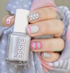 Cute winter nails w/essie Gorgeous Nails, Love Nails, Pretty Nails, Essie, Easter Nails, Cute Nail Art, Creative Nails, Manicure And Pedicure, Diy Nails