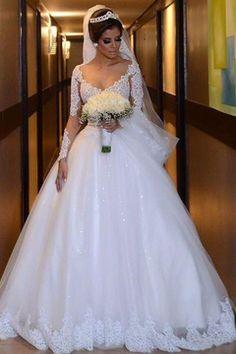 Comprar 2018 vestidos de novia baratos - 2016Vestido.com. 2019 V Neck Long  Sleeves A Line Wedding Dresses Tulle With Applique ... d95db66bf44d