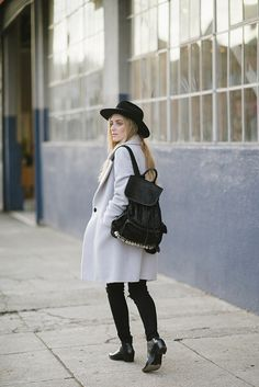 eat sleep wear blogger hat backpack winter coat winter outfits jacket sweater jeans shoes suede backpack back to school white coat fedora black hat black jeans mid heel boots black boots