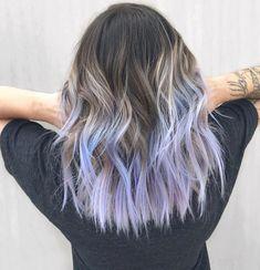 # lavenderhair # lavenderhair#lavenderhair Natural Blond Hair, Blonde Brown Hair Color, Purple Hair Streaks, Blue Hair Highlights, Blue Ombre Hair, Colored Curly Hair, Ombre Brown, Periwinkle Hair, Lavender Hair Colors