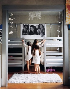 Love the shared room with giant art of the girls. And the light and the room design interior decorating Ikea Bunk Bed, Bunk Beds, Ikea Beds, Girls Bedroom, Bedroom Decor, Childs Bedroom, Triplets Bedroom, Bedroom Ideas, Lego Bedroom