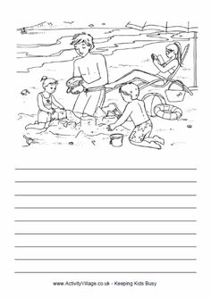 a day at the beach essay Summer Story Paper Creative Writing Worksheets, English Creative Writing, 4th Grade Math Worksheets, Picture Comprehension, Reading Comprehension Passages, English Activities, Book Activities, Village Scene Drawing, Sports Day Certificates