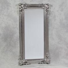 "Bathroom Mirrors Silver alderley silver ornate rectangle vintage wall mirror 60"" x 48"" x"
