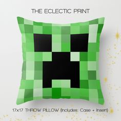 home decor. gifts for creepers. just plain blocky. The perfect addition to any household that loves keeping those creepers out! This throw pillow case features one of our Minecraft pieces, a stylish statement that will liven up any room! Perfect gift for kids, and for yourself. Front & Back...
