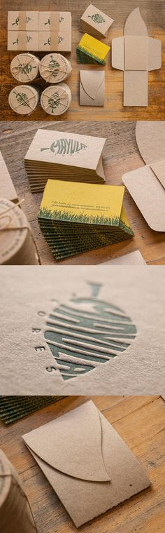 Leaf Themed Letterpress Business Cards With Die Cut Holders For A Florist