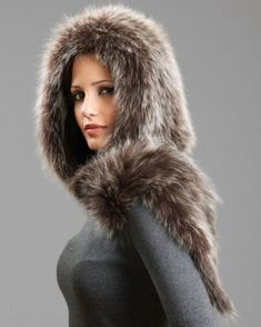 Brown Frost Knitted Hood Scarf - Fox Fur