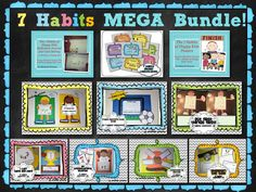 """7 Habits MEGA Bundle  This is a HUGE bundled pack of all of my 7 Habits inspired Craftivities, Journal/Goal Setting Guide, Posters and BONUS 7 Habits Award Certificates! This bundle is perfect for any classroom reading """"The 7 Habits of Happy Kids"""" by Sean Covey or using """"The Leader in Me""""."""