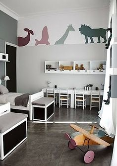 kids room inspiration: gray and white color with a touch of color on the stickers. #kids #room