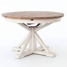 """Cintra Reclaimed Wood White Expandable Round Dining Table 47""""   Zin Home"""