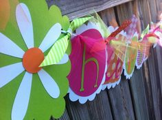 HAPPY BIRTHDAY banner with Daisies in hot pink, lime greens & oranges