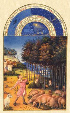 Les Tres Riches Heures Du Duc de Berry (The Book of Hours), November. Limbourg Brothers (1412-16).