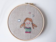 Hoop art embroidery girl with sweater free by LittleBirdOfParadise, £17.00
