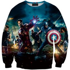 Autumn new iron woman sweatshirt marvel full printing cool hoodie HD print crewneck streetwear Caption Americafall sweat tops #Affiliate