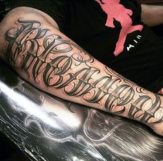 Guys Forearms Marvellous Lettering Tattoo