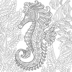Zentangle estilizado Caballito de mar — Vector de stock