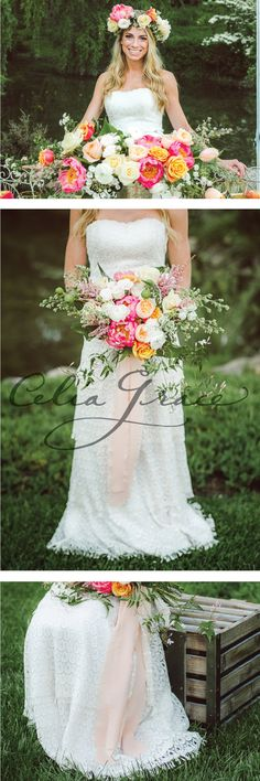 Colorful summer palette with the tiered lace Marie Gown by Celia Grace Photo: Dear Stacey Photography http://www.celia-grace.com/dresses/