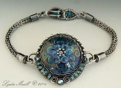 Diamond in the Sky Lampwork Bead Bracelet by Lydia Muell