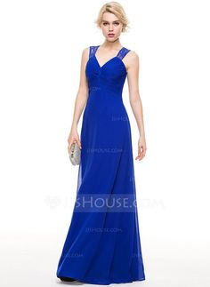 [US$ 119.99] A-Line/Princess V-neck Floor-Length Chiffon Evening Dress With Ruffle Lace (017086924)