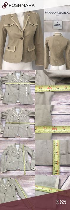 💗Sz 0 Banana Republic Linen Blend 1 Button Blazer Measurements are in photos. Normal wash wear, no flaws. A2  I do not comment to my buyers after purchases, due to their privacy. If you would like any reassurance after your purchase that I did receive your order, please feel free to comment on the listing and I will promptly respond.   I ship everyday and I always package safely. Thank you for shopping my closet! Banana Republic Jackets & Coats Blazers