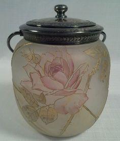 ANTIQUE MOUNT WASHINGTON ROYAL FLEMISH ART GLASS BISCUIT JAR