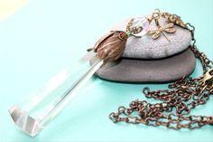 Vintage Halskette-Celestial Kristall Anhänger von PGCreations