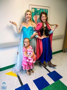 Elsa and Anna bring smiles to Adeline and other patients at East Tennessee Children's Hospital.