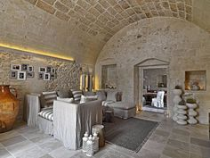 The Relais Masseria Capasa is a stunning hotel located in Martano, Italy. Originally constructed in the century, the property was renovated by Paolo Fracasso in Photos courtesy of the Relais Masseria Capasa Share your Thoughts Style At Home, Sofa Workshop, Interior Architecture, Interior Design, Italy Architecture, Stone Houses, Rustic Interiors, Home Fashion, New Homes