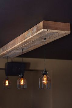 Dining light fixture - Reclaimed barn wood light fixtures//bar//restaurant //home. Rustic Lighting with Edison Light Bulb - http://centophobe.com/reclaimed-barn-wood-light-fixturesbarrestaurant-home-rustic-lighting-with-edison-light-bulb/ -