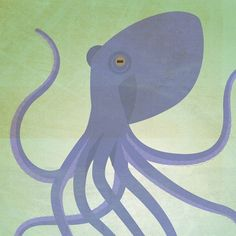 """octopus - LB said she wanted a """"lavender octopus on a green background."""" Perfect!"""