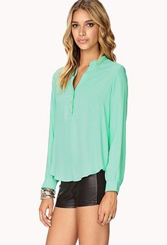 Essential Swirl Button Shirt | FOREVER 21 - 2000051119