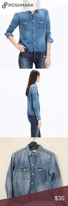 Madewell drop-hem denim shirt in lennie wash Button down long sleave denim shirt in a special denim with a touch of silk. The bottom is a drop dow hem. Madewell Tops Button Down Shirts