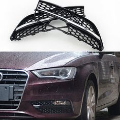 79.80$  Watch here - http://aliwpc.worldwells.pw/go.php?t=32763034478 - ABS RS3 Style Fog lamp Grill Covers trim For Audi A3 Standard SPORTBACK bumper 2014~2015