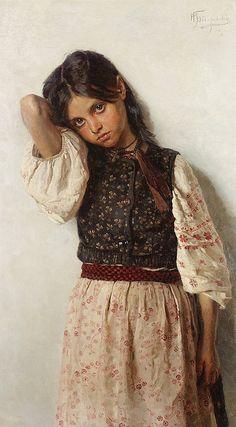 """""""Girl from Ukraine"""", Nikolai Bodarevsky (1850-1921), Ukraine."""