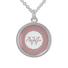 #monogram - #Pink and Turquoise Diagonal Stripes Monogram Sterling Silver Necklace