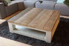 Salontafel van steigerhout, bovenblad 5cm dik