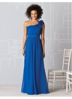 Bridesmaid Dresses - $113.99 - New Style A-Line/Princess One-Shoulder Floor-Length Chiffon Charmeuse Bridesmaid Dress With Ruffle (007004153)jjshouse.com