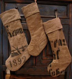 grain sack stockings Nice! just need a little extra bling