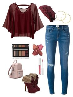 """Burgundy Distressed Jeans"" by knitsbynat on Polyvore featuring Frame, Traffic People and JustFab"