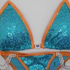 Sequin Aqua with Orange trim NPC, WBFf, IFBb Competition Bikini by NpcAngelBikinis on Etsy