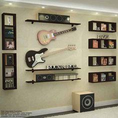 Home Music Rooms, Music Bedroom, Music Studio Room, Guitar Wall, Guitar Room, Man Cave Lighting, Music Corner, Family Wall Decor, Siding Colors