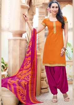 Karisma Kapoor Orange Cotton Punjabi Suit 59882